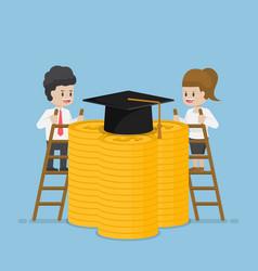 businessman climb a ladder for graduation cap vector image