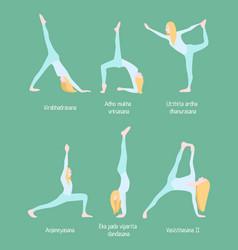 flexible blonde woman yoga set vector image