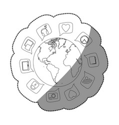 sticker silhouette world map globe with dialogue vector image