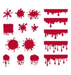 set of ketchup drops splashes vector image
