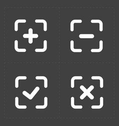 White confirm icons set vector