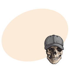 Hand drawn human skull wearing grey colored vector