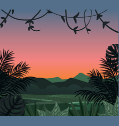 Tropical landscape with tropical leaves vector
