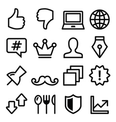 Web menu navigation line icons - social media vector image