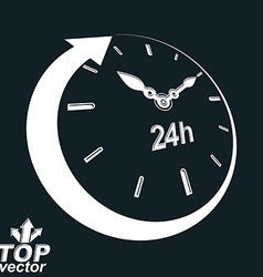 3d 24 hours clock black and white Day-and-n vector image vector image