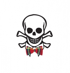 Skull with bowtie vector