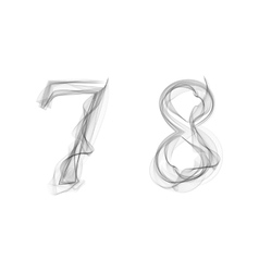 Black smoke font numbers 7 8 vector