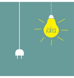 Hanging yellow light bulb and cord plug idea vector