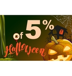 5 percent discount halloween sales pumpkin vector