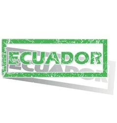 Green outlined ecuador stamp vector