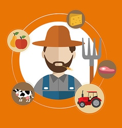 Modern flat concept of farmer and organic clean vector