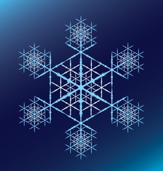 Blue snowflake on a blue gradient vector