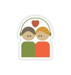 Stylish paper sticker on white background couple vector