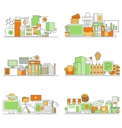 Modern set of creative flat backgrounds vector