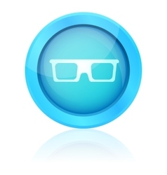 Blue shiny glasses icon with reflection vector
