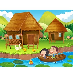 Two kids rowing boat in the river vector