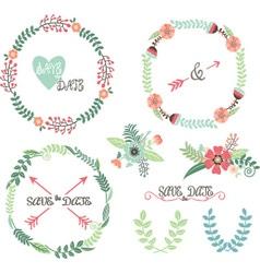 Wedding wreath laurel elements vector