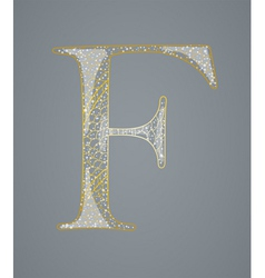 Abstract golden letter f vector