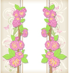 Background with pink peach flowers vector
