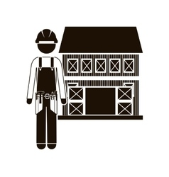 Black silhouette builder with helmet and house vector
