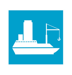 Blue square frame with tanker cargo ship with vector