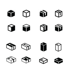 Box icons set vector
