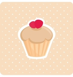 Cake with white polka dots on pastel background vector