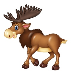 Cartoon brown moose isolated on white background vector
