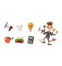 Cartoon monkey businessman stress dancing isolated vector