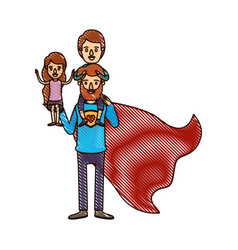 Color crayon stripe cartoon full body super dad vector