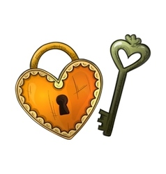 Colorful sketch heart shape lock and key vector