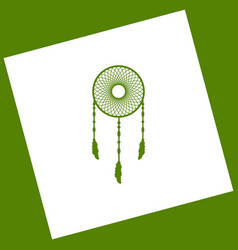 Dream catcher sign white icon obtained as vector