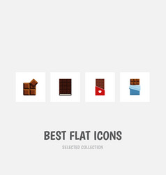 Flat icon bitter set of dessert cocoa bitter and vector