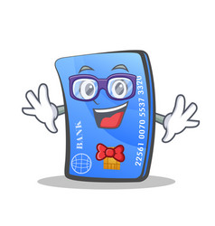 Geek credit card character cartoon vector