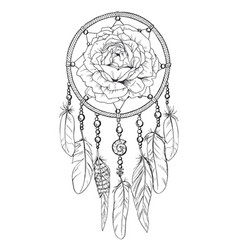 Hand drawn ornate dreamcatcher with rose bud vector