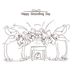 Happy groundhog day card with group of men in vector