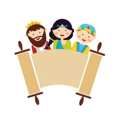 Kids wearing costumes from purim story arranged vector