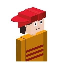 Lego half body firefighter with helmet vector