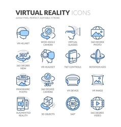 Line Virtual Reality Icons vector image