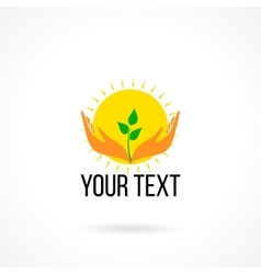 Logo with hands sun and plant vector