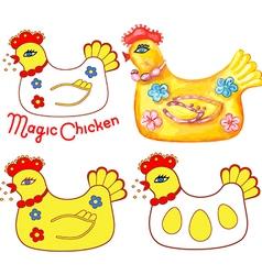 Magic chicken set vector
