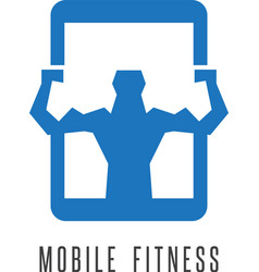 Mobile fitness abstract with phone and man vector