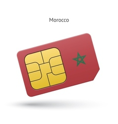 Morocco mobile phone sim card with flag vector