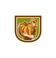 Organic Farmer Holding Pumpkin Shield Retro vector image