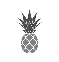 Pineapple with leaf gray vector image