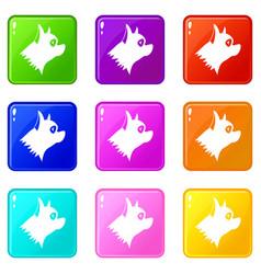 Pinscher dog icons 9 set vector