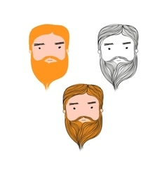 Red hair man head avatar set vector