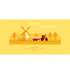 Rural Farm Landscape Mill and Tractor with Trailer vector image vector image