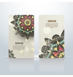 Set of abstract visit cards with indian vector image vector image