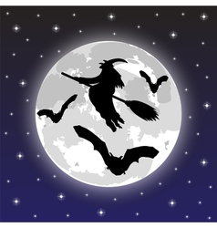 Silhouettes of witches and bats vector